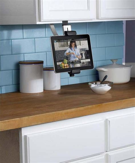 under cabinet mount tv for kitchen amazon com belkin kitchen cabinet tablet mount computers
