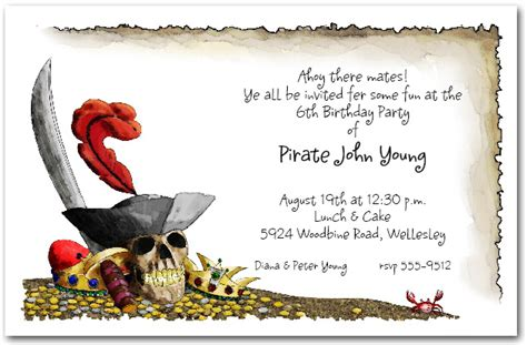 pirate s gold birthday invitations