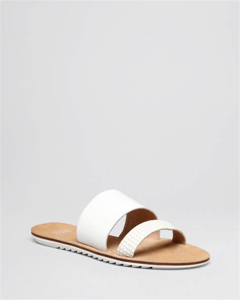 white slide sandals lyst eileen fisher flat slide sandals folly two band