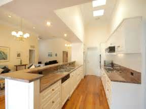Galley Kitchen Ideas Modern Galley Kitchen Design Using Floorboards Kitchen