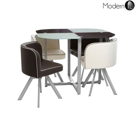 Compact Dining Table And Chair Sets New Checkers Bistro Dining Set Compact Dining Table And 4 Chairs Glass Table Ebay