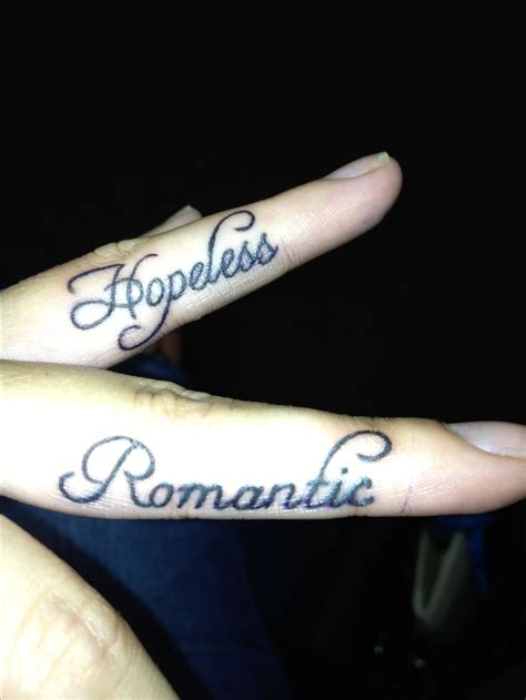 romantic tattoos hopeless finger tattoos it up