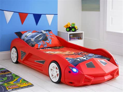 toddler race car bed kids racing car bed childrens toddler junior bed with optional lights and sounds ebay