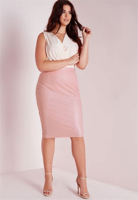 plus size faux leather midi skirt blush plus size plus