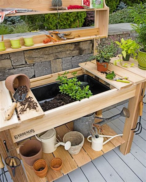 planting bench potting bench cedar potting table with soil sink and