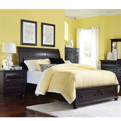 broyhill farnsworth bedroom set broyhill farnsworth storage sleigh bed 3 pc bedroom set in inky black 4856 3pc