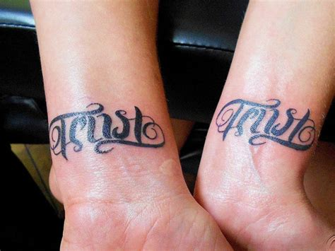 trust wrist tattoo trust ambigram tattoos on wrist tattooshunt