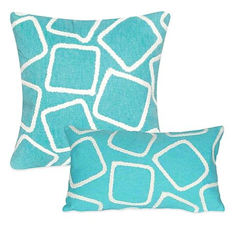 bed bath and beyond outdoor pillows liora manne squares outdoor throw pillow in aqua bed