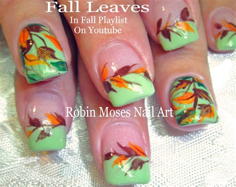 easy nail art leaf 2 nail art tutorials diy easy fall leaves design youtube