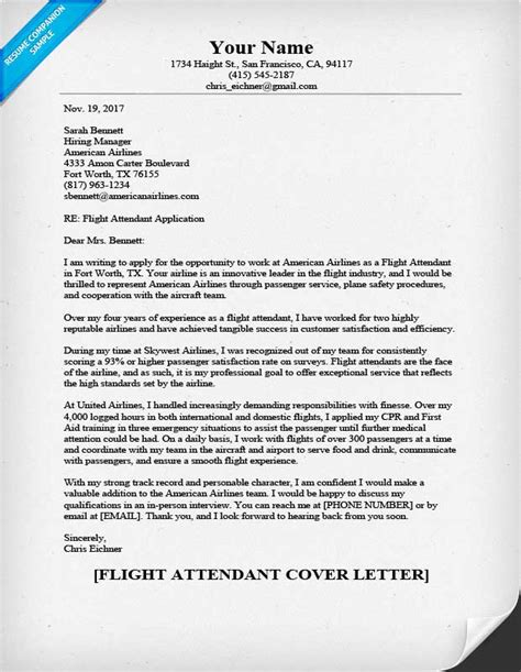 Cover Letter For Flight Attendant Flight Attendant Cover Letter Sle Helpful Tips Resume Companion