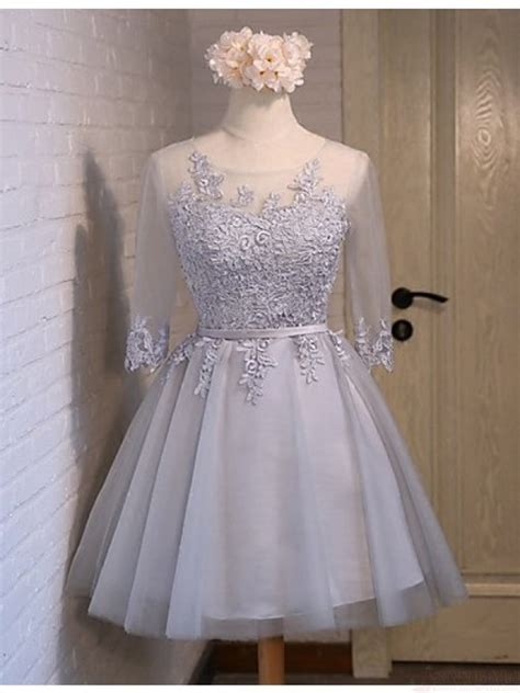 baby blue lace tulle long sleeves homecoming dressesback