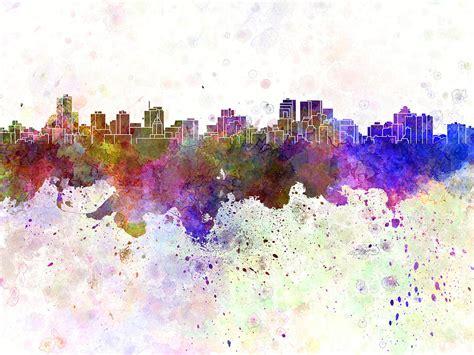 Duvet Covers Winnipeg Winnipeg Skyline In Watercolor Background Painting By