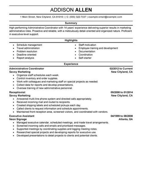 best administrative coordinator resume exle livecareer