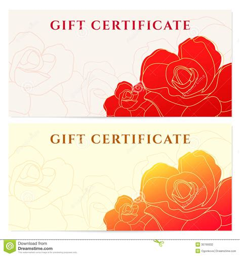 flower gift card template gift certificate voucher template flower pattern stock