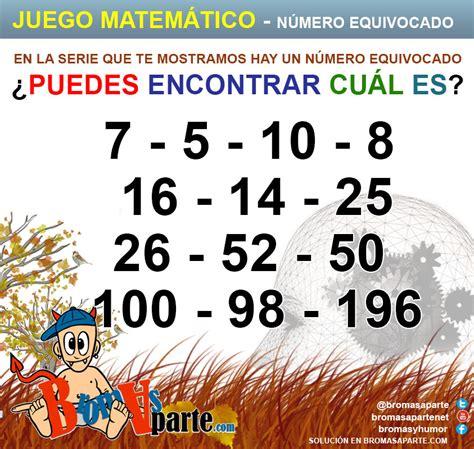 imagenes matematicas recreativas juego con n 250 meros encuentra n 250 mero equivocado