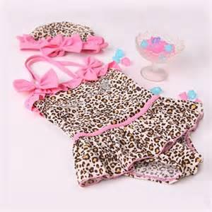 Baby girls font b toddler b font font b swimwear b font leopard bikini