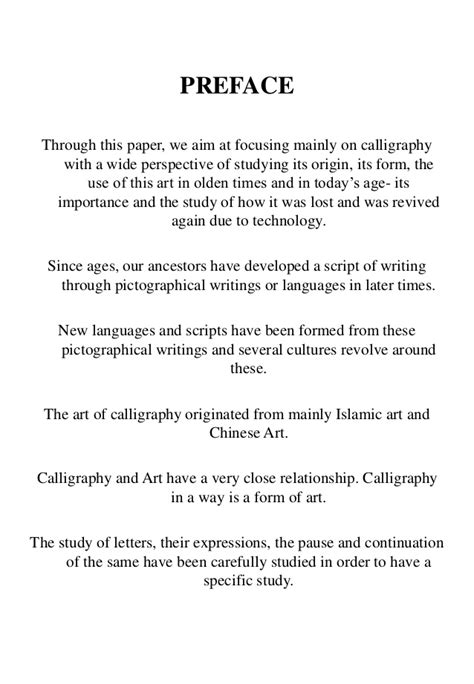 Foreword Research Paper by Calligraphy Research Thesis