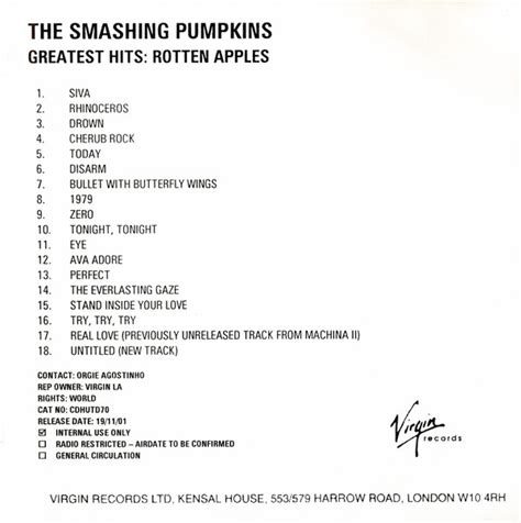 The Smashing Pumpkins Greatest Hits the smashing pumpkins greatest hits rotten apples cdr