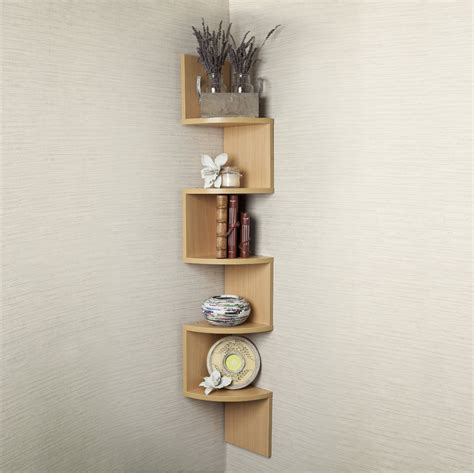 small corner shelf large beech veneer zig zag corner