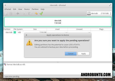 format flashdisk cara format flashdisk menggunakan gparted androbuntu