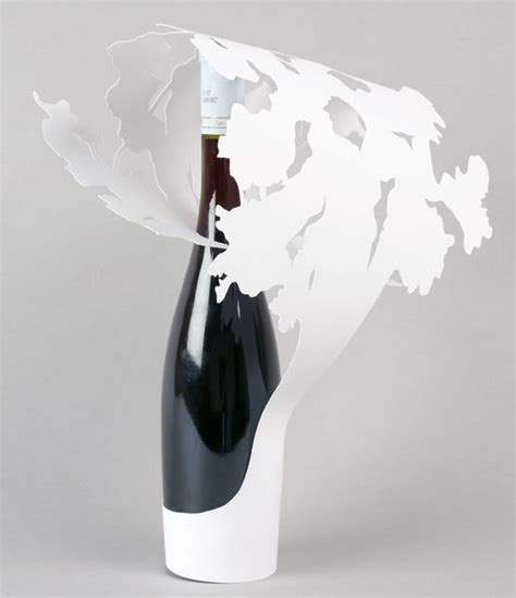 Origami Bottle - wine label origami ambalaj