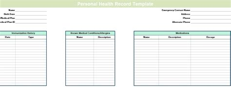 health record template blank personal health record template excel excel tmp