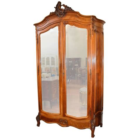 armoire with mirror doors louis xv style two mirror doors walnut armoire with