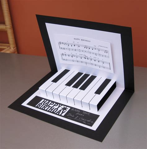 Grand Piano Pop Up Card Free Template by S Cards Pop Up Piano Card
