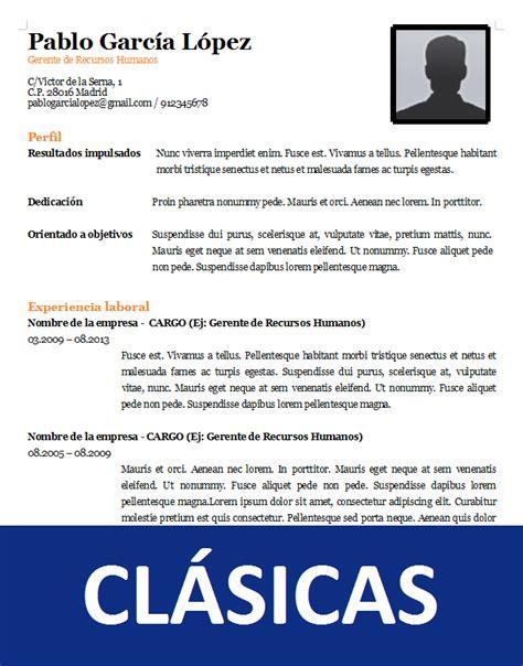Plantilla De Curriculum Vitae Sencillo plantillas curriculum vitae en word para rellenar gratis