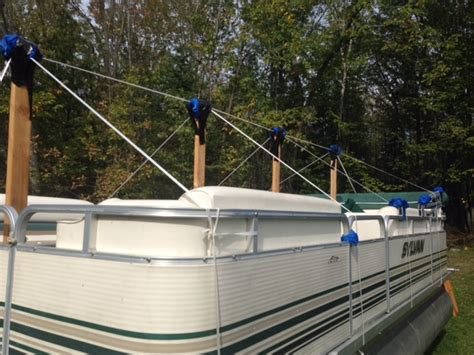 pontoon boat shrink wrap frame all seasons covers reusable pontoon boat and rv covers