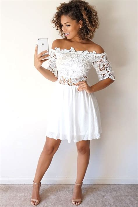 The Shoulder Lace Dress White with white graduation dresses mybestfashions