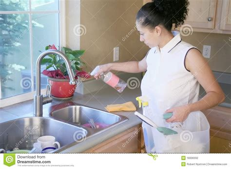 cleaning the kitchen woman cleaning the kitchen stock photography image 18306332