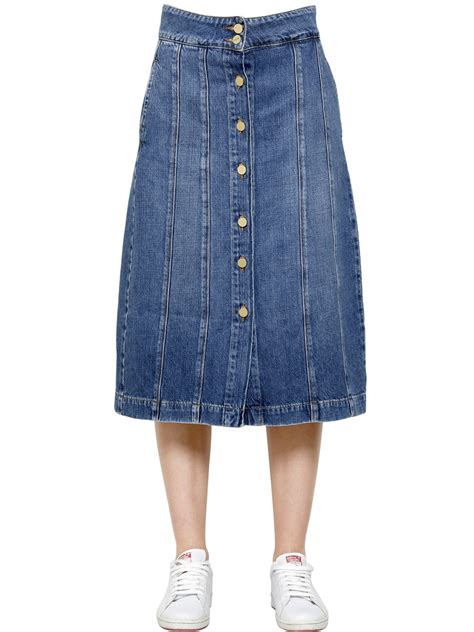 Color Panel Midi Skirt frame denim midi skirt in blue lyst