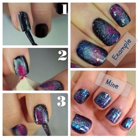 tutorial nail art galaxy diy galaxy nails tutorial nails pinterest