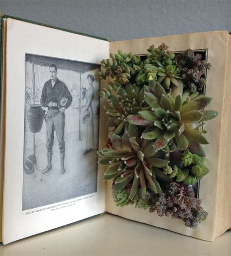 upcycled vintage book planter open the plant open