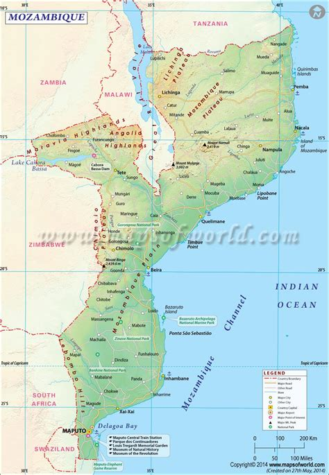 physical map of mozambique mozambique map map of mozambique