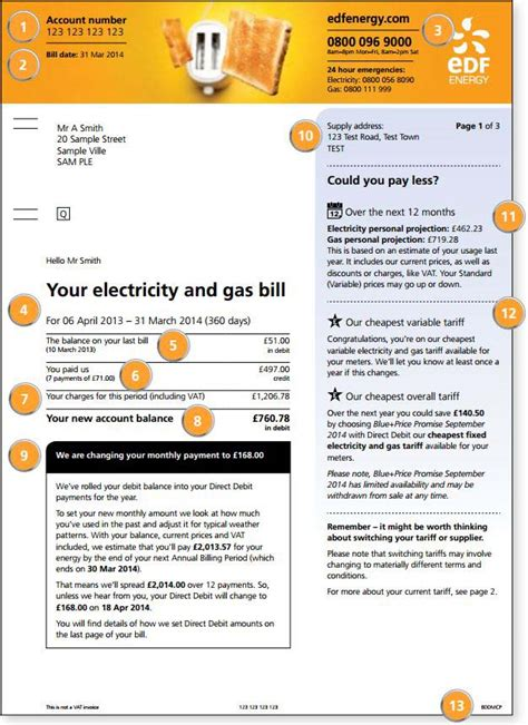 EDF Energy Bill Explained   MyUtilityGenius