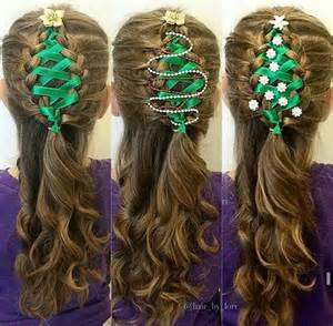 corset ribbon braided christmas tree hairstyle tutorial