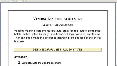 Vending Machine Agreement Youtube Vending Machine Contract Template
