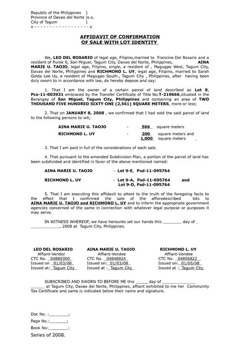 sle of affidavit calam 233 o affidavit of confirmation of sale with lot