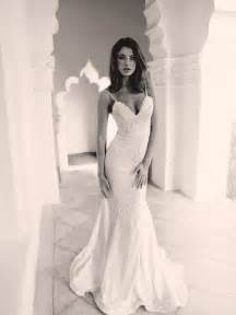 Modern ivory lace v neck mermaid wedding gown with spaghetti straps