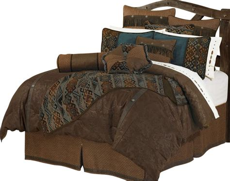 Leather Bedding Set Bitterroot Bit And Spur Faux Leather Luxury Comforter Set Comforters And Comforter Sets