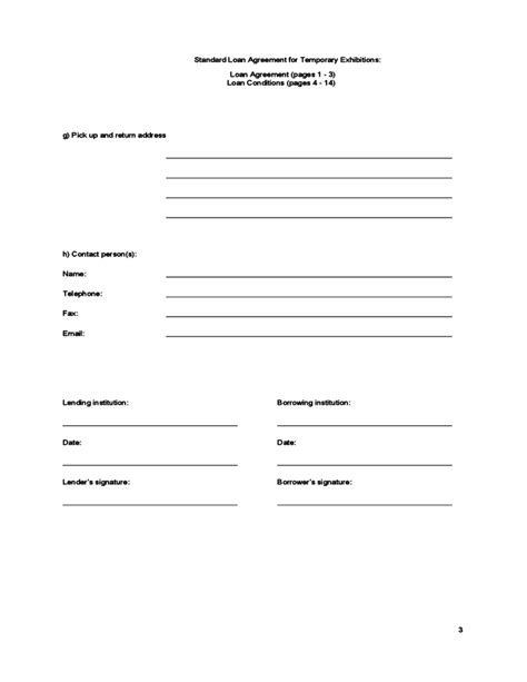 standard loan agreement template free promissory note