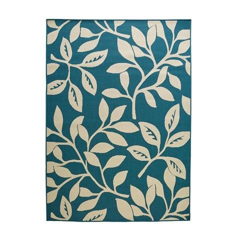 Hton Bay Reversible Cream Teal Floral Flat Woven Weave Hton Bay Outdoor Rugs