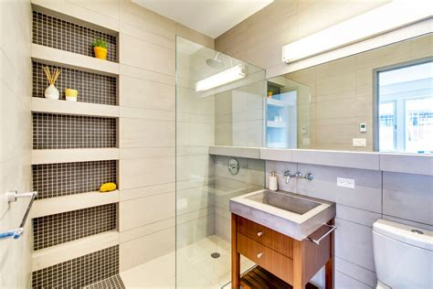 Built In Shower Shelves Bathroom Contemporary With Built In Bathroom Shelves