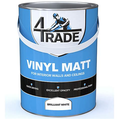 4trade vinyl matt emulsion paint brilliant white 5l travis perkins