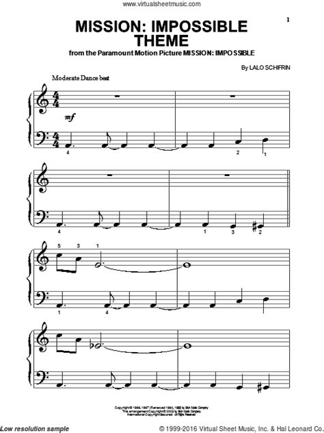 tutorial piano mission impossible schifrin mission impossible theme sheet music for piano