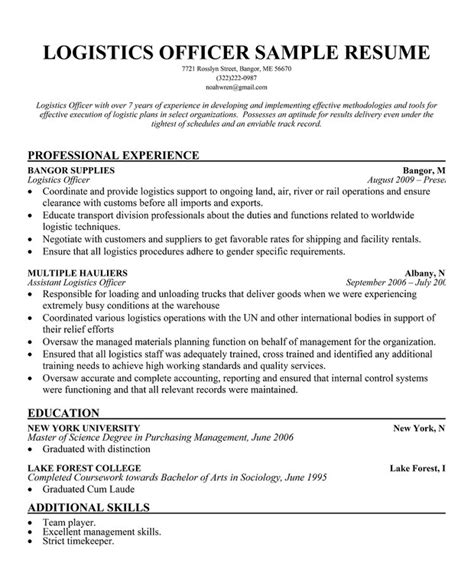 Logistics Analyst Sle Resume by Logistics Resume Resume Cv Cover Letter