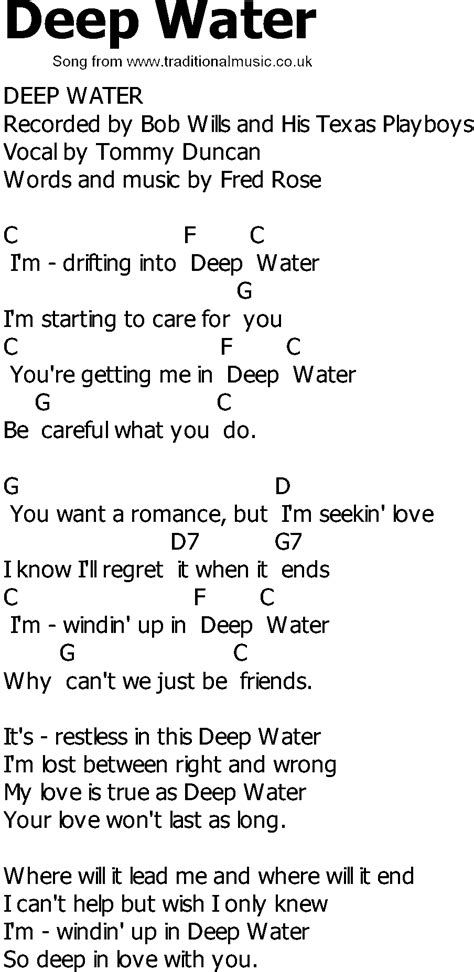 song to country song lyrics with chords water