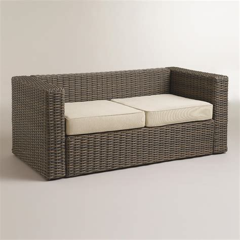 all weather wicker bench all weather wicker formentera outdoor bench with cushions